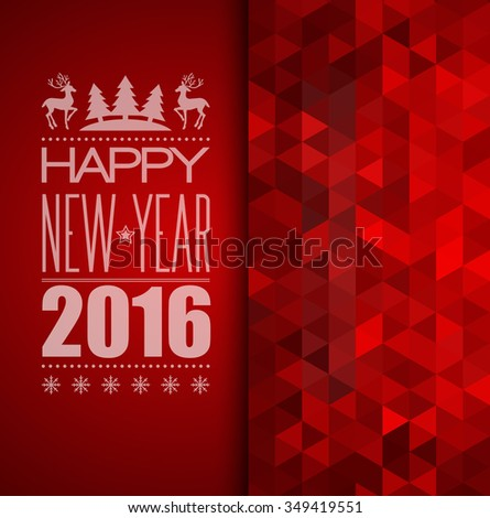 Christmas background.  Typographic poster. Happy New Year 2016. Raster copy - stock photo