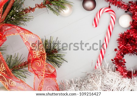 Christmas Background Wallpaper With Candy Cane And Red Festoons