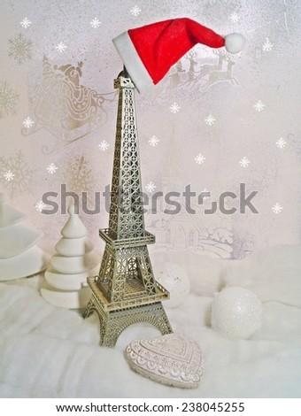 Christmas background - White Christmas - Eiffel Tower in winter scenery - stock photo