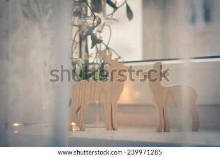 Christmas background: window decorations - stock photo
