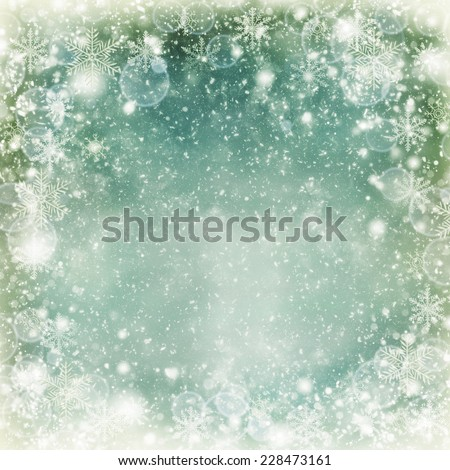 Christmas Background. Winter Holiday Snow Blue Background with snowflakes and stars. Christmas Abstract Defocused Blurred Glowing Backdrop. Elegant Bokeh.  - stock photo