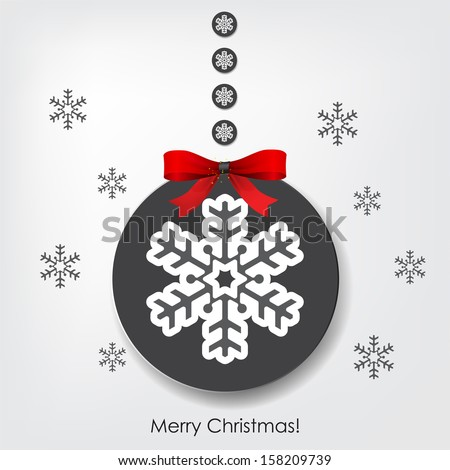 "Christmas background with a Christmas ball and ribbon, and the text ""Merry Christmas!"" (Raster)"