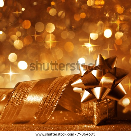 Christmas background with a gift in copper