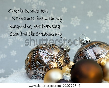 Christmas background with a quote  from the famous Christmas song ; silver bells - stock photo