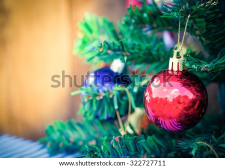 Christmas background with a red ornament - stock photo