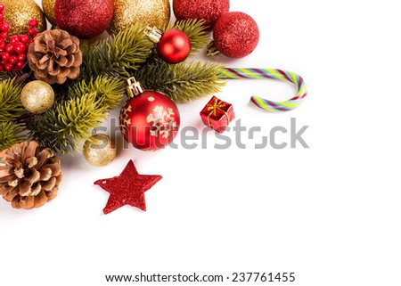 Christmas background with a red ornament. studio shot