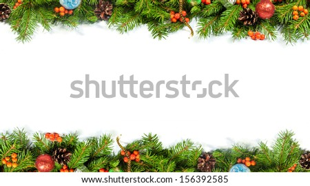 Christmas background with balls and decorations isolated on white background - stock photo