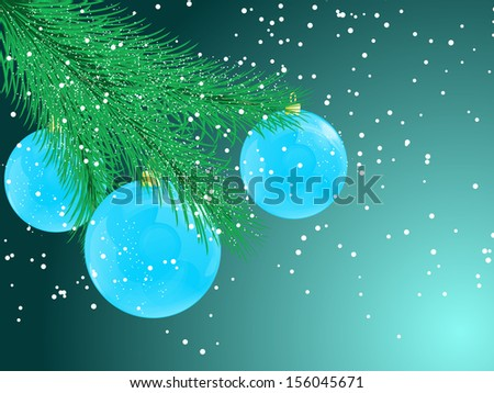 Christmas background with balls on a branch.  raster copy