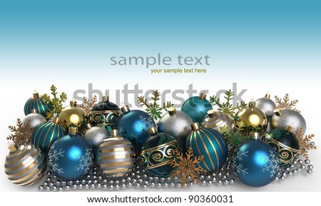 Christmas background with baubles and snowflake - stock photo