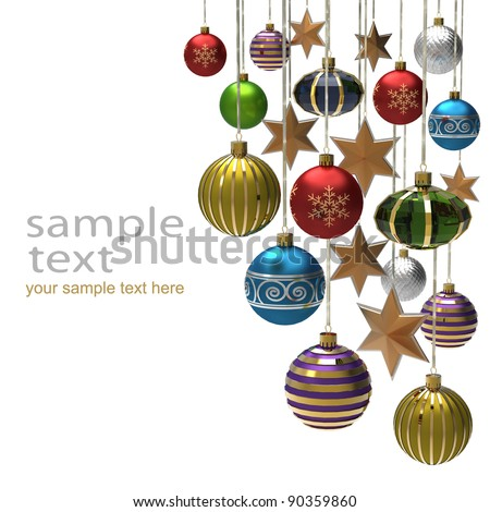 Christmas background with baubles and star - stock photo