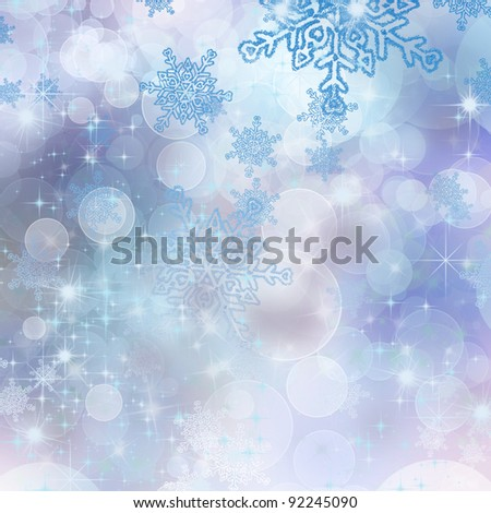 christmas background with beautiful snowflakes - stock photo