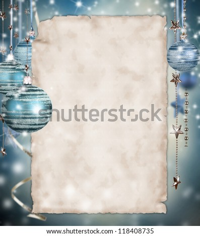Christmas background with blank paper - stock photo