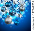 Christmas background with blue and silver baubles. Check my portfolio for vector version. - stock photo