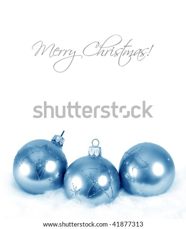 Christmas background with blue ball decorations and snow