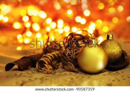 Christmas background with bulb and blurs