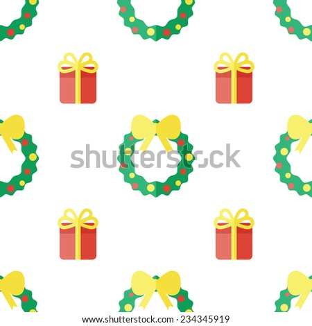 Christmas background with calendar and sock in flat style. - stock photo