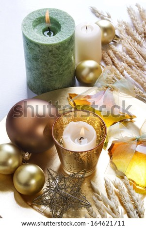 Christmas background with candles and baubles.  - stock photo