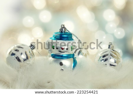 Christmas background with cheerful snowman  - stock photo