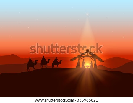 Christmas background with Christian theme, shining star and birth of Jesus, illustration. - stock photo