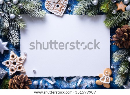 Christmas background with christmas cookies and festive decoration - stock photo