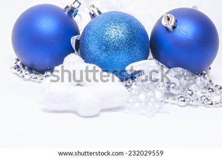 Christmas background with Christmas decoration : balls,ribbons,christmas tree - stock photo