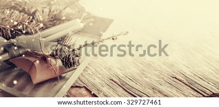 Christmas background with christmas decorations and candles  - stock photo