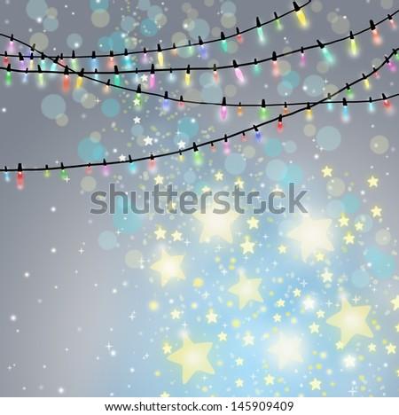 Christmas background with Christmas lights. - stock photo