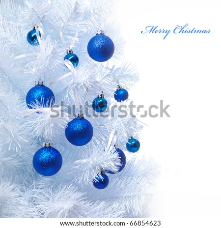Christmas background with christmas tree and baubles - stock photo