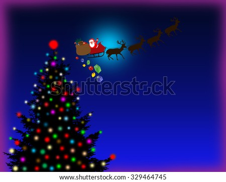 Christmas background with Christmas tree and Santa?s sleigh with space for your text - stock photo