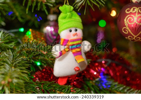 Christmas background with Christmas tree and snowman  - stock photo