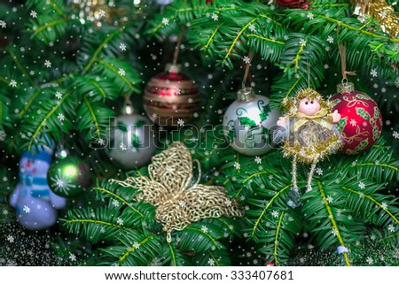 Christmas Background with Christmas Tree, Fairy and Glass Balls, Shallow DOF, Selective Focus - stock photo