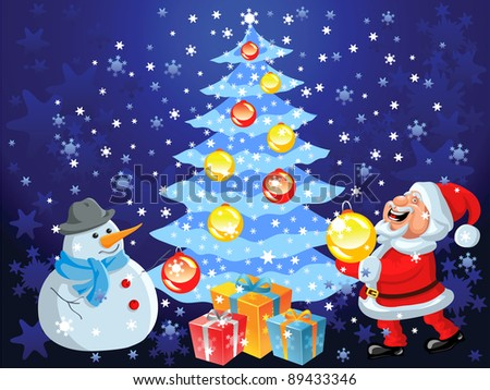 Christmas background with Christmas tree, snowflakes, toys, gifts, decorations, happy cartoon Santa Claus and snowman - stock photo
