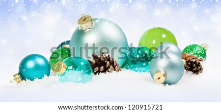 Christmas background with colored balls - stock photo
