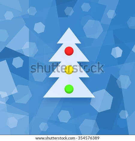 Christmas background with decorated Xmas tree - stock photo