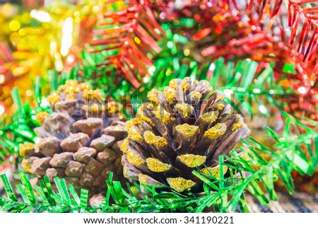 Christmas background with decorations on colorful background