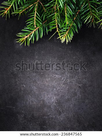 Christmas Background with  Fir Tree on Vintage Black board with free blank copy space for greeting text. Christmas Holiday card, Poster, Wallpaper - stock photo