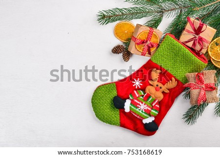 Christmas background with fir tree. Top view with copy space