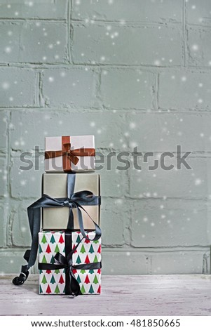 Christmas background with  gift boxes in vintage color