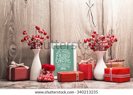 Christmas background with gifts and Christmas balls. Frame with congratulatory text - stock photo
