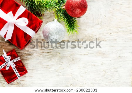 Christmas background with gifts on a light woody background. tinting. selective focus on gift - stock photo