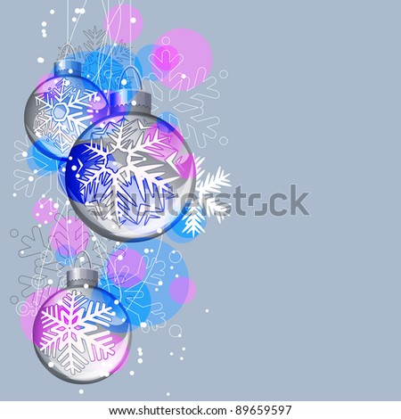 Christmas background with glass balls and contour snowflakes. Raster version.