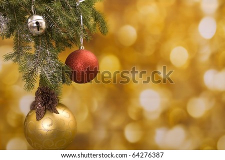 Christmas background with gold and red - stock photo