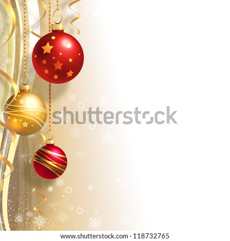 Christmas background with gold and red balls - stock photo