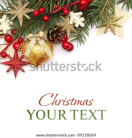 Christmas background with gold Xmas decoration on white - stock photo