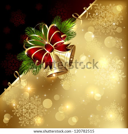 Christmas background with golden bells, bow and tinsel, illustration. - stock photo