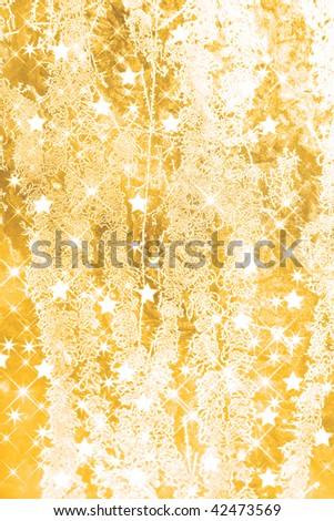 Christmas background with golden ice flowers and stars. - stock photo