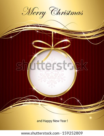 Christmas background with golden ribbon and bauble, illustration. - stock photo