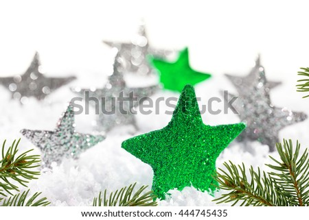 Christmas background with green stars and christmas twig - stock photo