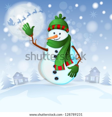 Christmas background with happy snowman - stock photo