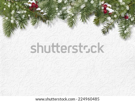 Christmas background with holly,firtree - stock photo